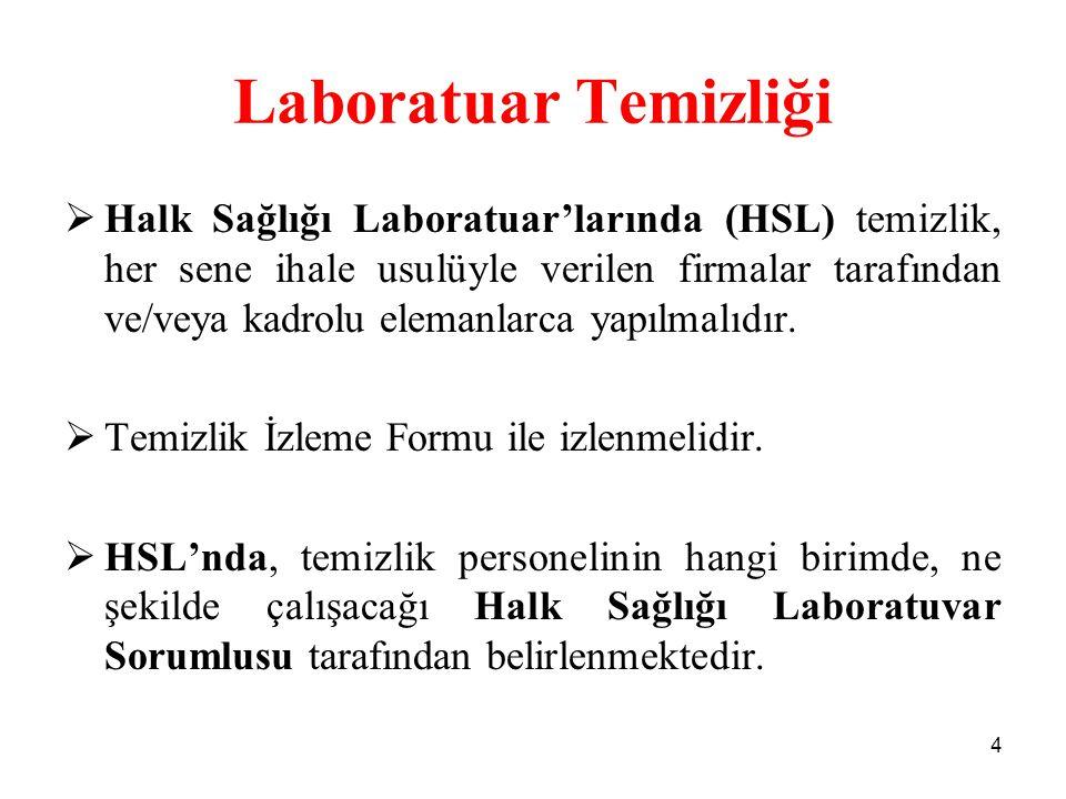 Laboratuar Temizliği  Halk Sağlığı Laboratuar'larında (HSL) temizlik, her sene ihale usulüyle verilen firmalar tarafından ve/veya kadrolu elemanlarca