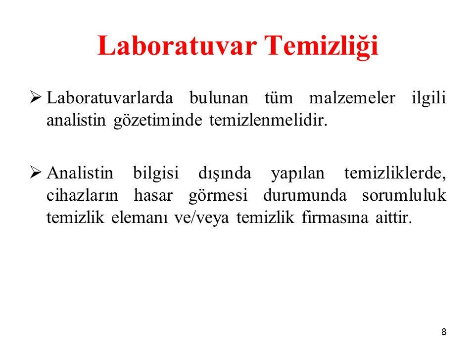 Laboratuvar Temizliği  Laboratuvarlarda bulunan tüm malzemeler ilgili analistin gözetiminde temizlenmelidir.  Analistin bilgisi dışında yapılan temi