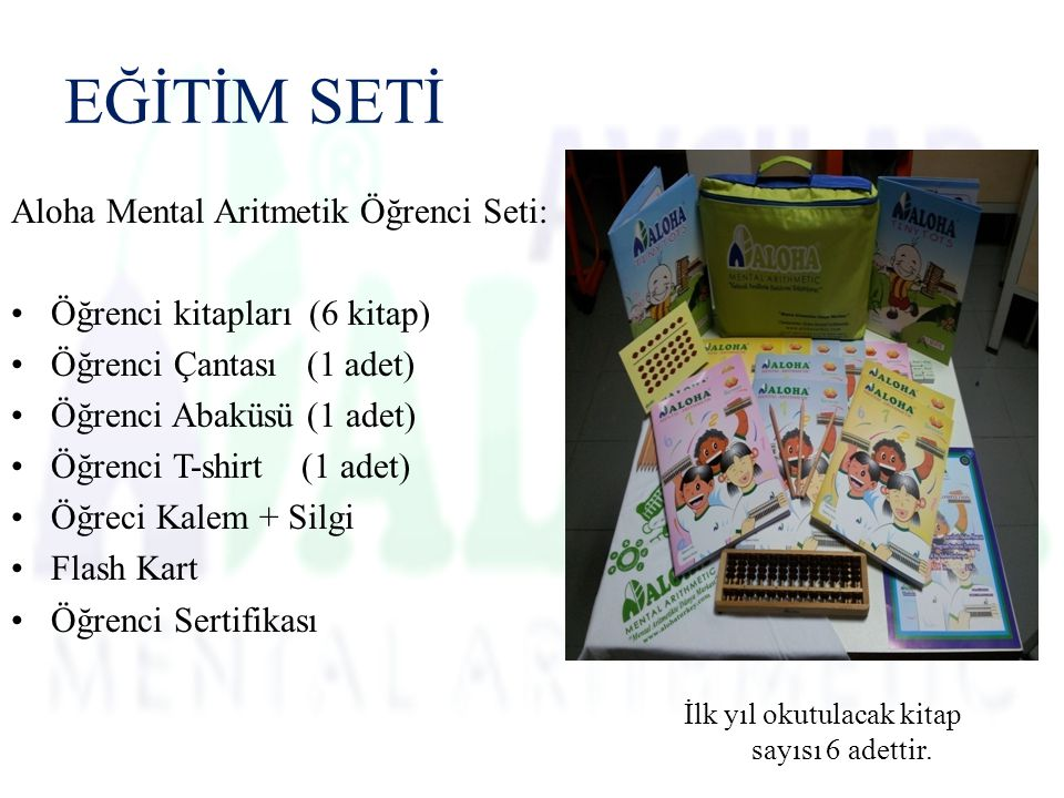 Aloha Mental Aritmetik Öğrenci Seti: Öğrenci kitapları (6 kitap) Öğrenci Çantası (1 adet) Öğrenci Abaküsü (1 adet) Öğrenci T-shirt (1 adet) Öğreci Kalem + Silgi Flash Kart Öğrenci Sertifikası EĞİTİM SETİ İlk yıl okutulacak kitap sayısı 6 adettir.