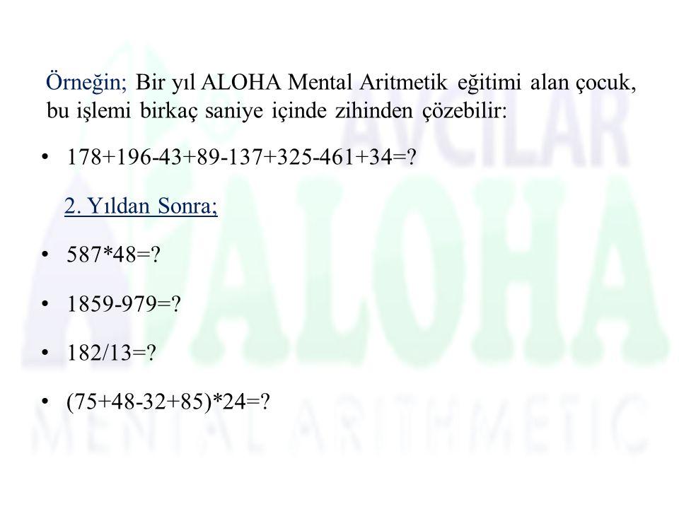Örneğin; Bir yıl ALOHA Mental Aritmetik eğitimi alan çocuk, bu işlemi birkaç saniye içinde zihinden çözebilir: 178+196-43+89-137+325-461+34=.