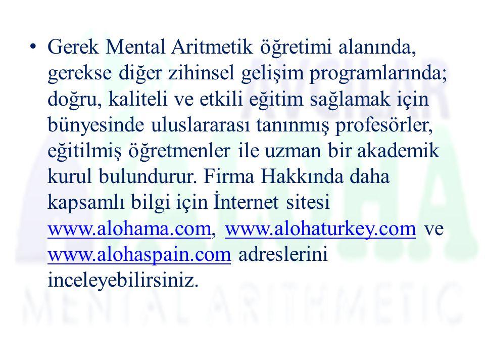 Gerek Mental Aritmetik öğretimi alanında, gerekse diğer zihinsel gelişim programlarında; doğru, kaliteli ve etkili eğitim sağlamak için bünyesinde uluslararası tanınmış profesörler, eğitilmiş öğretmenler ile uzman bir akademik kurul bulundurur.