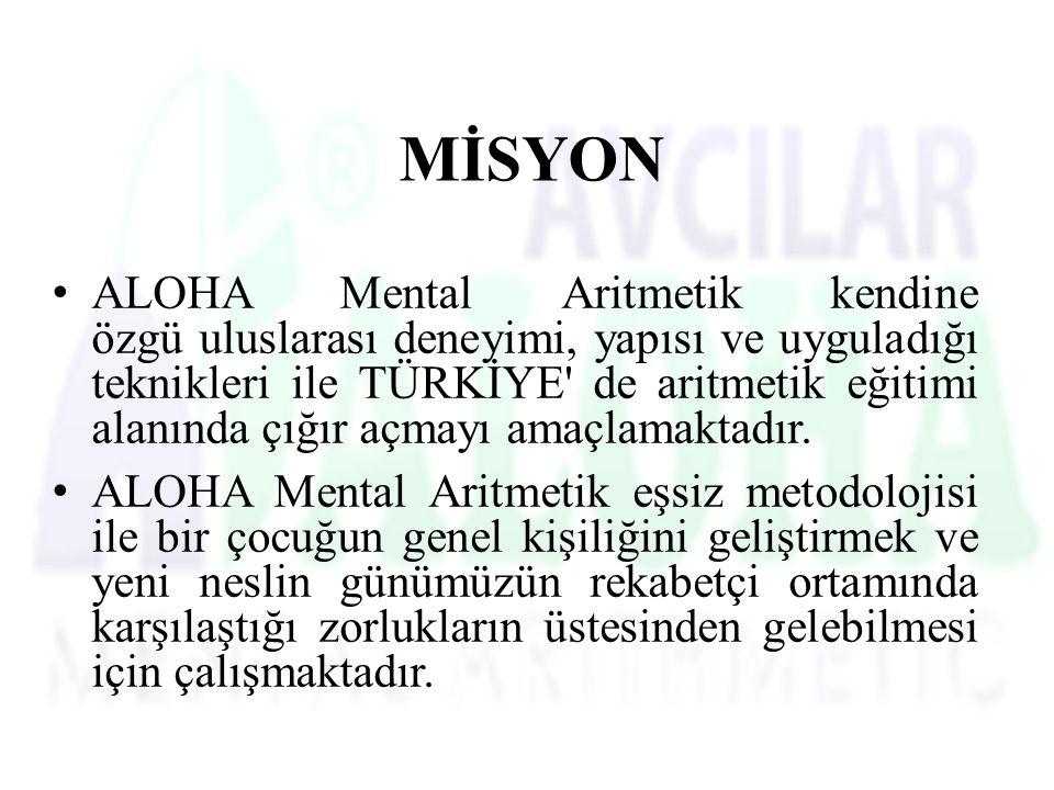 MİSYON ALOHA Mental Aritmetik kendine özgü uluslarası deneyimi, yapısı ve uyguladığı teknikleri ile TÜRKİYE de aritmetik eğitimi alanında çığır açmayı amaçlamaktadır.