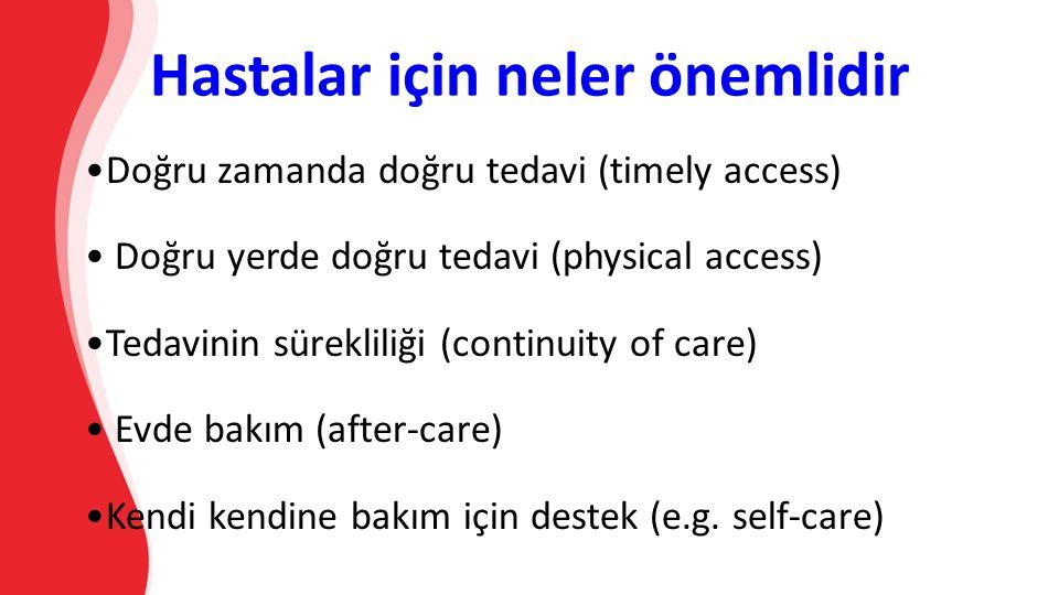 Hastalar için neler önemlidir Doğru zamanda doğru tedavi (timely access) Doğru yerde doğru tedavi (physical access) Tedavinin sürekliliği (continuity of care) Evde bakım (after-care) Kendi kendine bakım için destek (e.g.