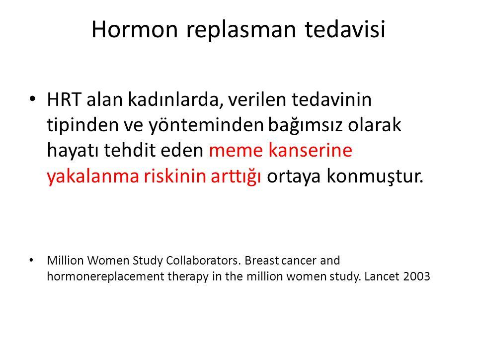 Hormon replasman tedavisi HRT alan kadınlarda, verilen tedavinin tipinden ve yönteminden bağımsız olarak hayatı tehdit eden meme kanserine yakalanma r