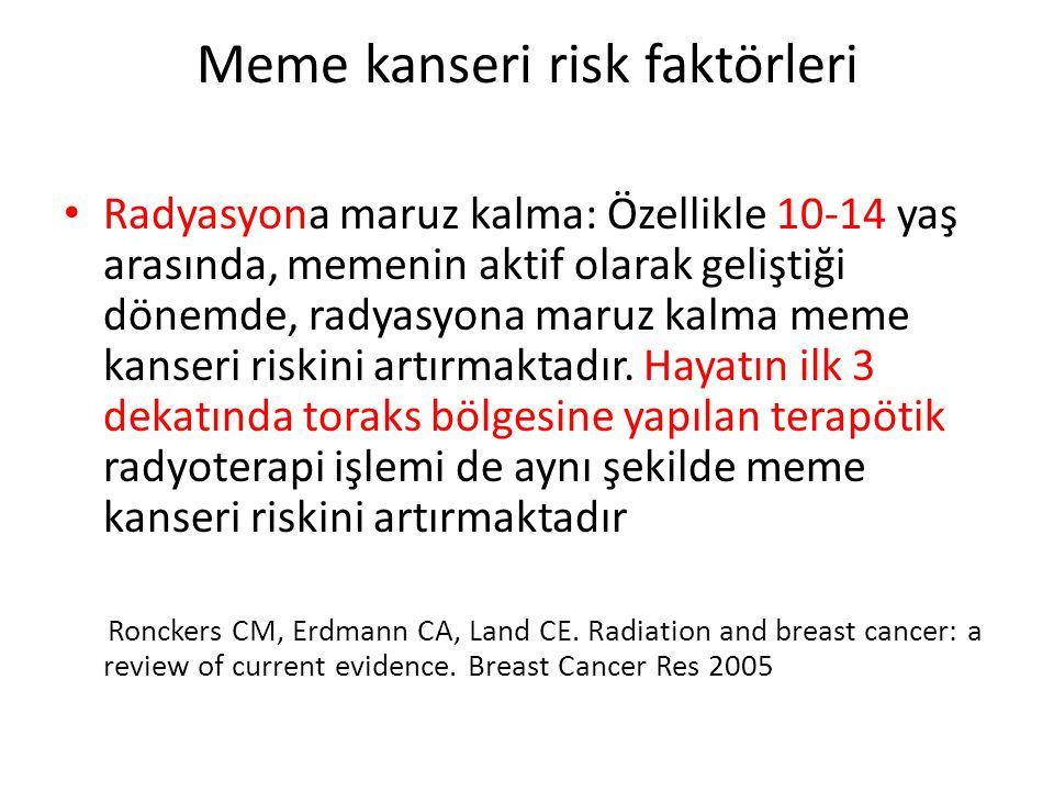 Meme kanseri risk faktörleri Radyasyona maruz kalma: Özellikle 10-14 yaş arasında, memenin aktif olarak geliştiği dönemde, radyasyona maruz kalma meme