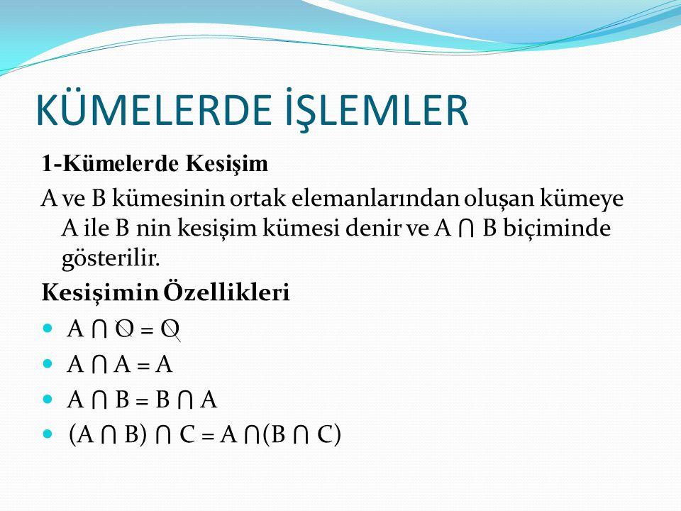 KÜMELERDE İŞLEMLER 1-Kümelerde Kesişim A ve B kümesinin ortak elemanlarından oluşan kümeye A ile B nin kesişim kümesi denir ve A ⋂ B biçiminde gösterilir.