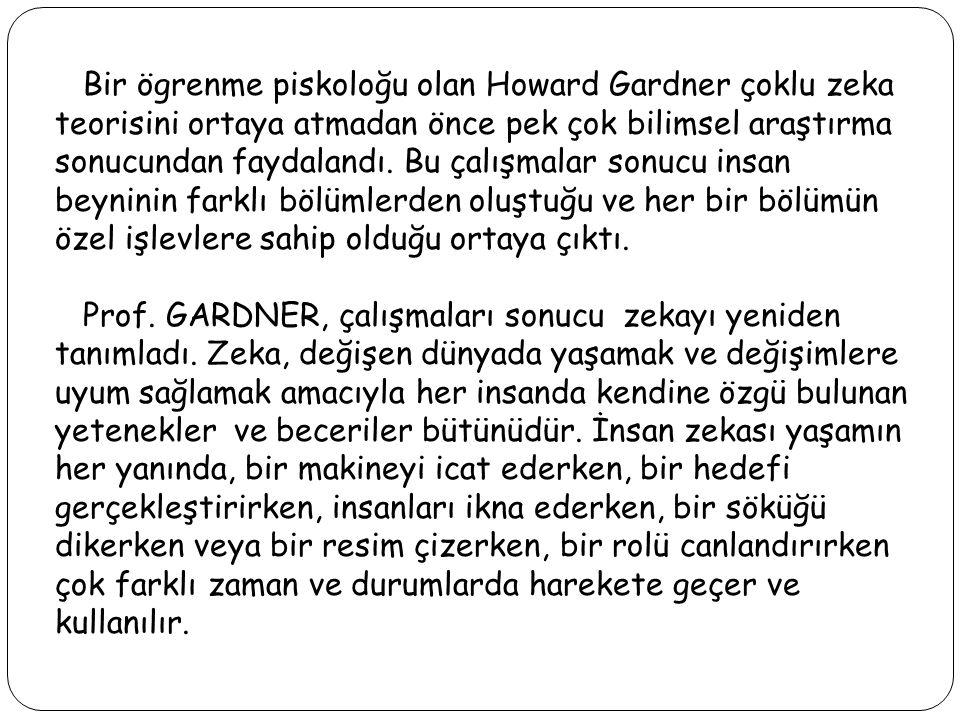 Bir ögrenme piskoloğu olan Howard Gardner çoklu zeka teorisini ortaya atmadan önce pek çok bilimsel araştırma sonucundan faydalandı. Bu çalışmalar son