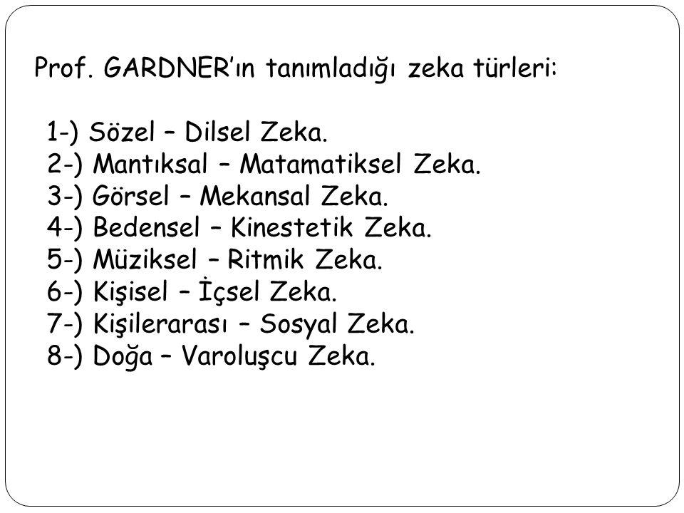 Prof. GARDNER'ın tanımladığı zeka türleri: 1-) Sözel – Dilsel Zeka. 2-) Mantıksal – Matamatiksel Zeka. 3-) Görsel – Mekansal Zeka. 4-) Bedensel – Kine