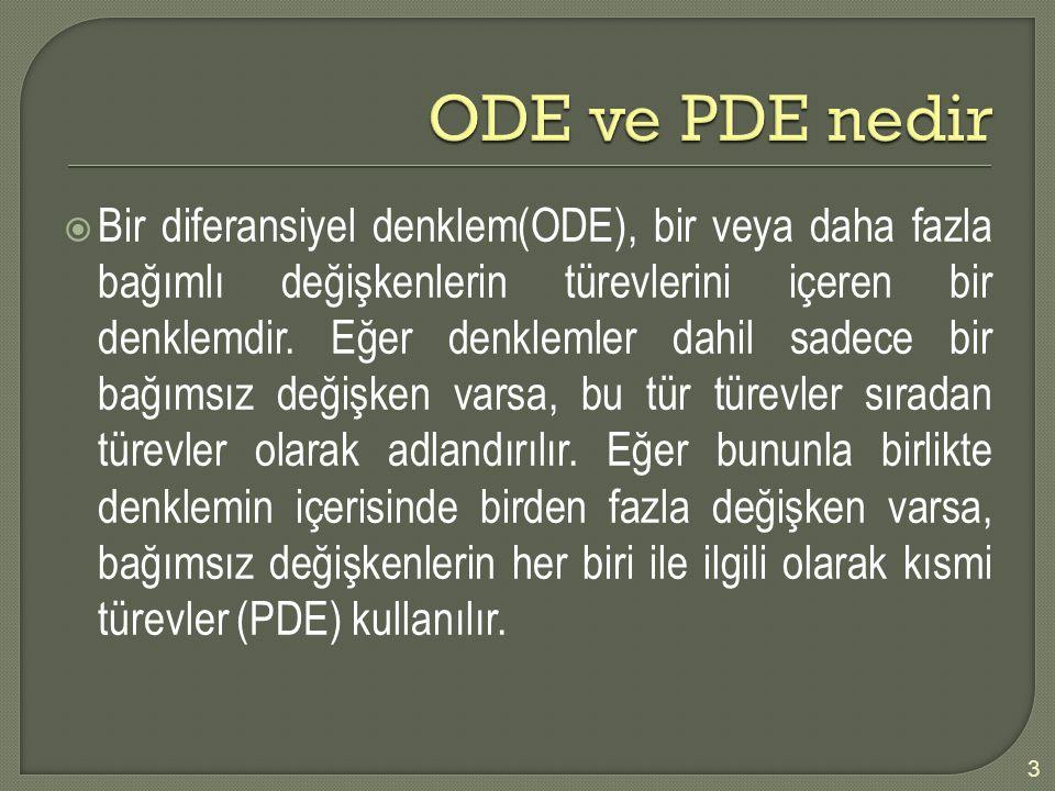  Bir diferansiyel denklem(ODE), bir veya daha fazla bağımlı değişkenlerin türevlerini içeren bir denklemdir. Eğer denklemler dahil sadece bir bağımsı