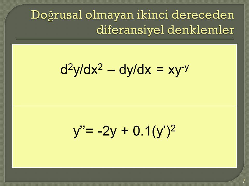 d 2 y/dx 2 – dy/dx = xy -y y''= -2y + 0.1(y') 2 8  Homojen ODE her terimde bağımlı değişken veya türevleri içeren bir denklemdir