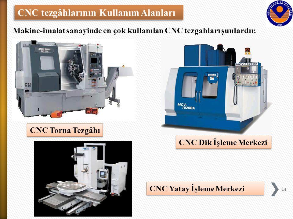 CNC tezgâhlarının Kullanım Alanları CNC Torna Tezgâhı CNC Dik İşleme Merkezi Makine-imalat sanayinde en çok kullanılan CNC tezgahları şunlardır.