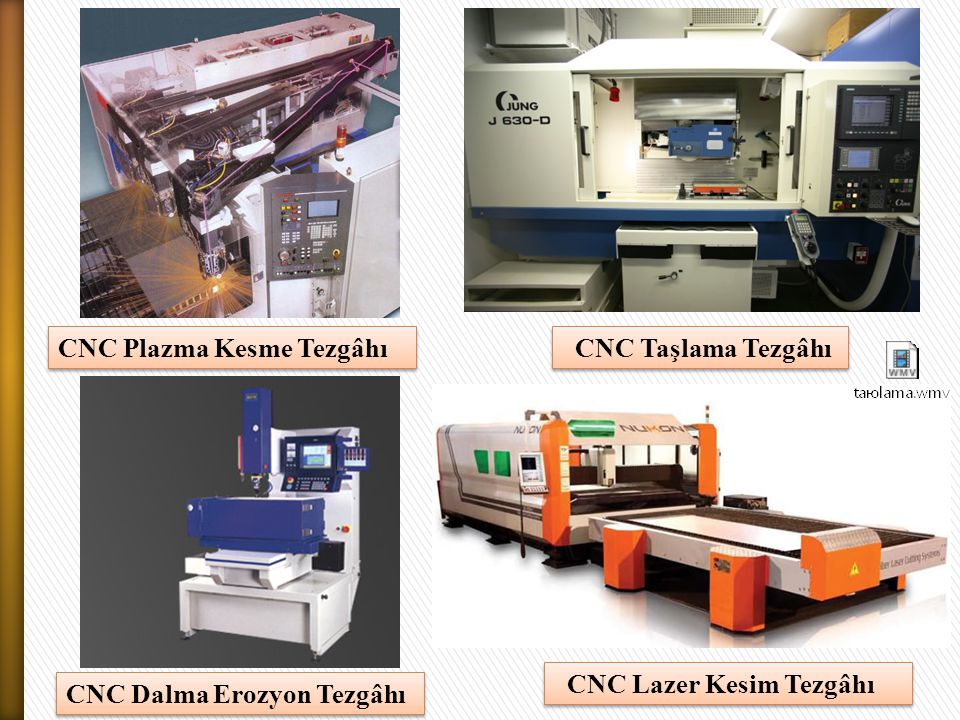 CNC Plazma Kesme Tezgâhı CNC Dalma Erozyon Tezgâhı 15 CNC Taşlama Tezgâhı CNC Lazer Kesim Tezgâhı