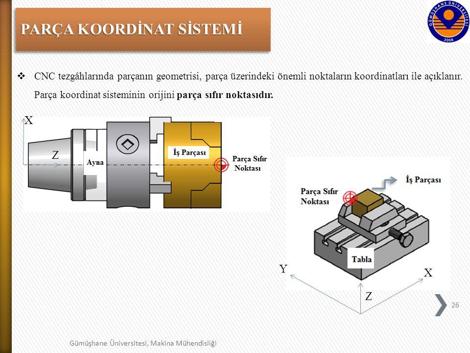 26 Gümüşhane Üniversitesi, Makina Mühendisliği PARÇA KOORDİNAT SİSTEMİ  CNC tezgâhlarında parçanın geometrisi, parça üzerindeki önemli noktaların koordinatları ile açıklanır.