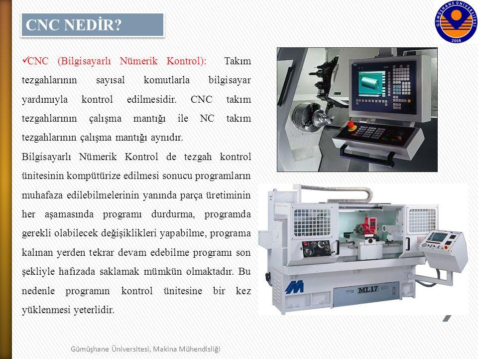 7 Gümüşhane Üniversitesi, Makina Mühendisliği CNC (Bilgisayarlı Nümerik Kontrol): Takım tezgahlarının sayısal komutlarla bilgisayar yardımıyla kontrol edilmesidir.