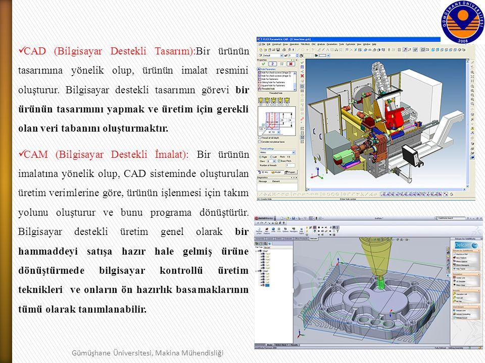 9 Gümüşhane Üniversitesi, Makina Mühendisliği CAD (Bilgisayar Destekli Tasarım):Bir ürünün tasarımına yönelik olup, ürünün imalat resmini oluşturur.