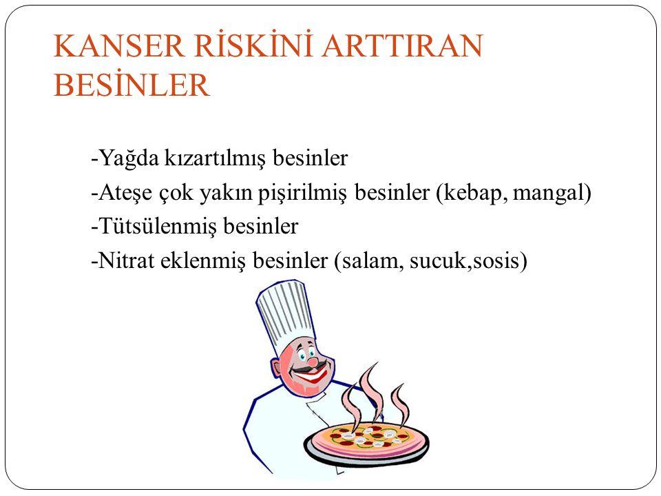 KANSER RİSKİNİ ARTTIRAN BESİNLER -Yağda kızartılmış besinler -Ateşe çok yakın pişirilmiş besinler (kebap, mangal) -Tütsülenmiş besinler -Nitrat eklenm