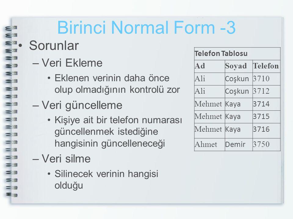 Birinci Normal Form -3 Sorunlar –Veri Ekleme Eklenen verinin daha önce olup olmadığının kontrolü zor –Veri güncelleme Kişiye ait bir telefon numarası