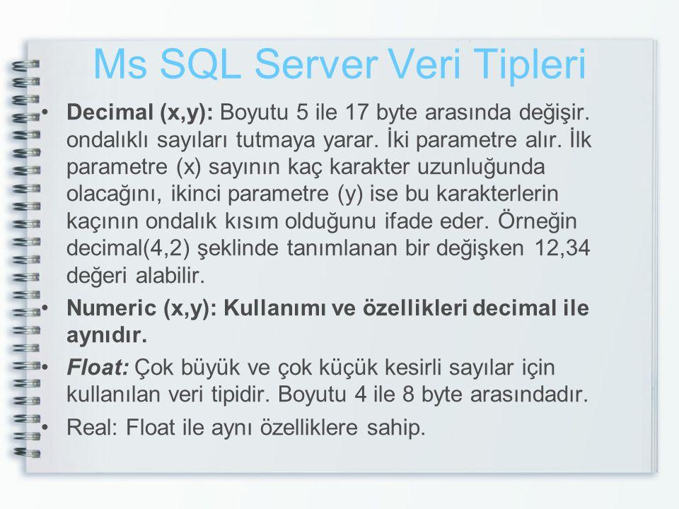 Ms SQL Server Veri Tipleri Decimal (x,y): Boyutu 5 ile 17 byte arasında değişir. ondalıklı sayıları tutmaya yarar. İki parametre alır. İlk parametre (