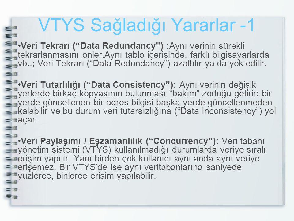 """VTYS Sağladığı Yararlar -1 Veri Tekrarı (""""Data Redundancy"""") :Aynı verinin sürekli tekrarlanmasını önler.Aynı tablo içerisinde, farklı bilgisayarlarda"""