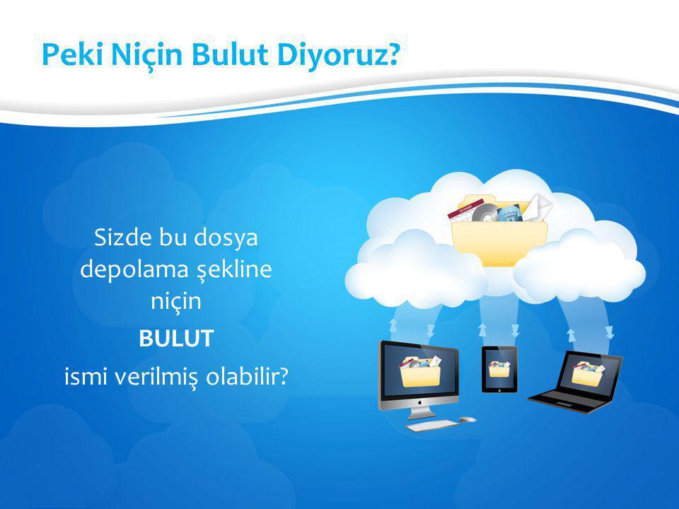 Bulut Depolama Hizmetleri Bir çok şirket kullanıcılara dosyalarını internet üzerinde depolayabilmesi için hizmet vermektedir.