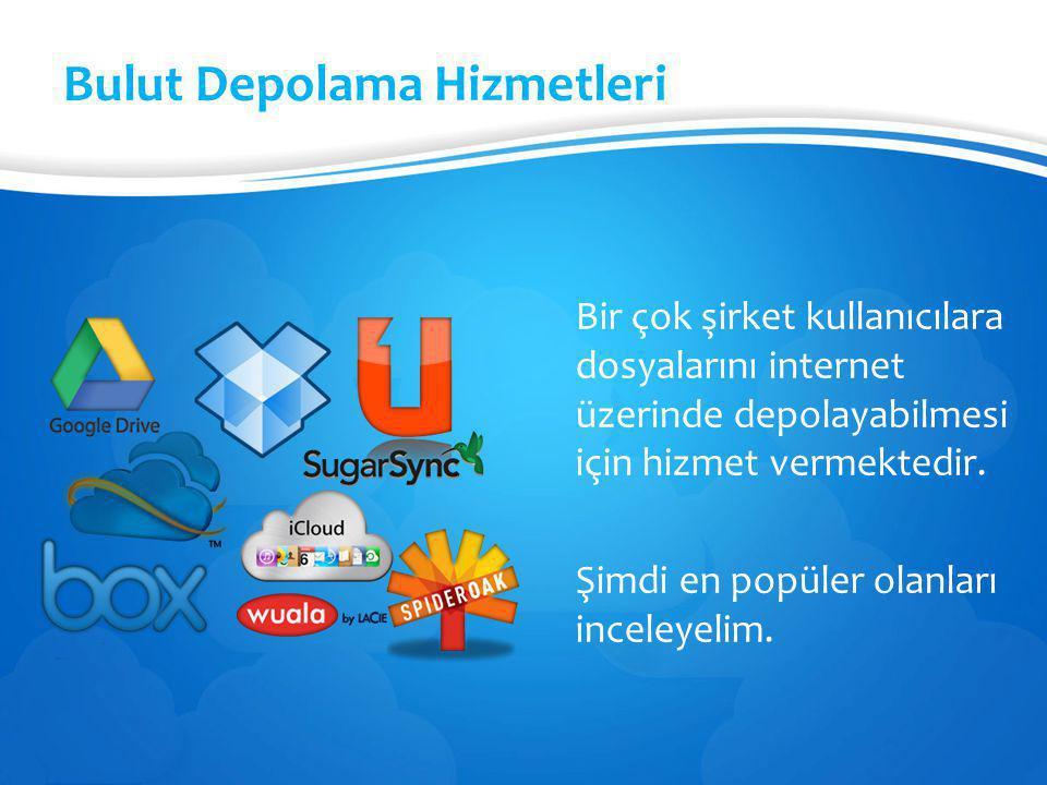 Bulut Depolama Hizmetleri Bir çok şirket kullanıcılara dosyalarını internet üzerinde depolayabilmesi için hizmet vermektedir. Şimdi en popüler olanlar
