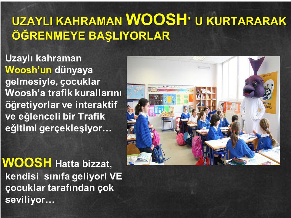 UZAYLI KAHRAMAN WOOSH ' U KURTARARAK ÖĞRENMEYE BAŞLIYORLAR Uzaylı kahraman Woosh'un dünyaya gelmesiyle, çocuklar Woosh'a trafik kurallarını öğretiyorl