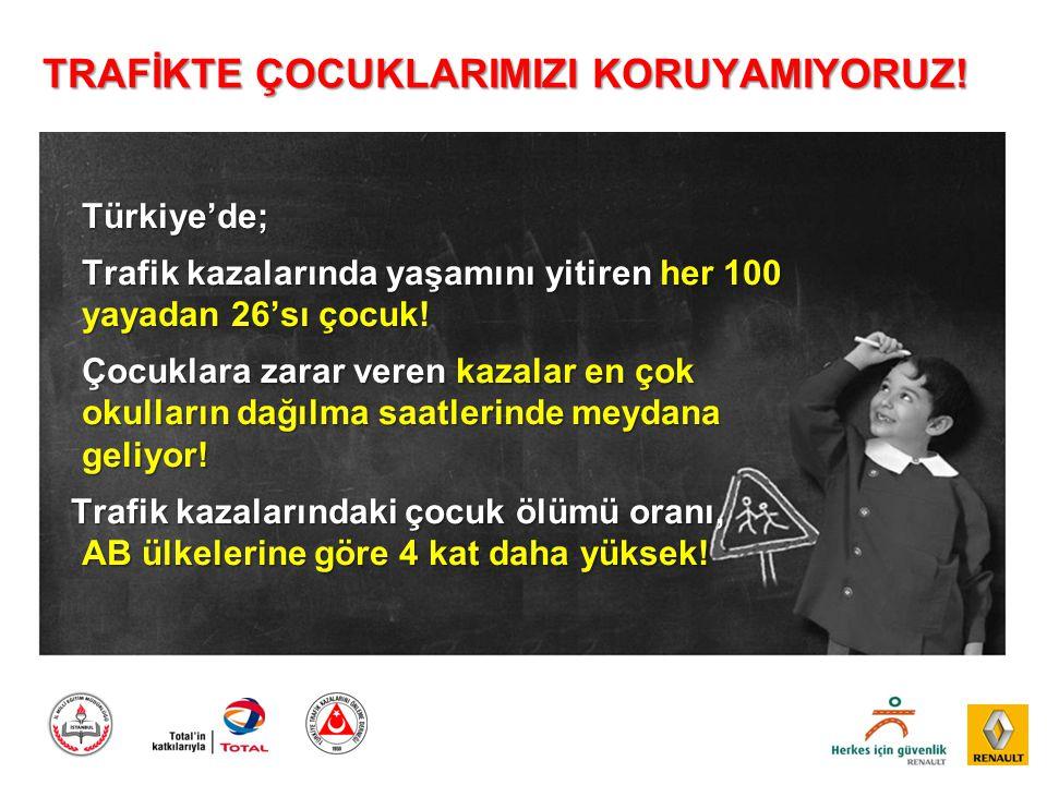 TRAFİKTE ÇOCUKLARIMIZI KORUYAMIYORUZ! Türkiye'de; Trafik kazalarında yaşamını yitiren her 100 yayadan 26'sı çocuk! Çocuklara zarar veren kazalar en ço