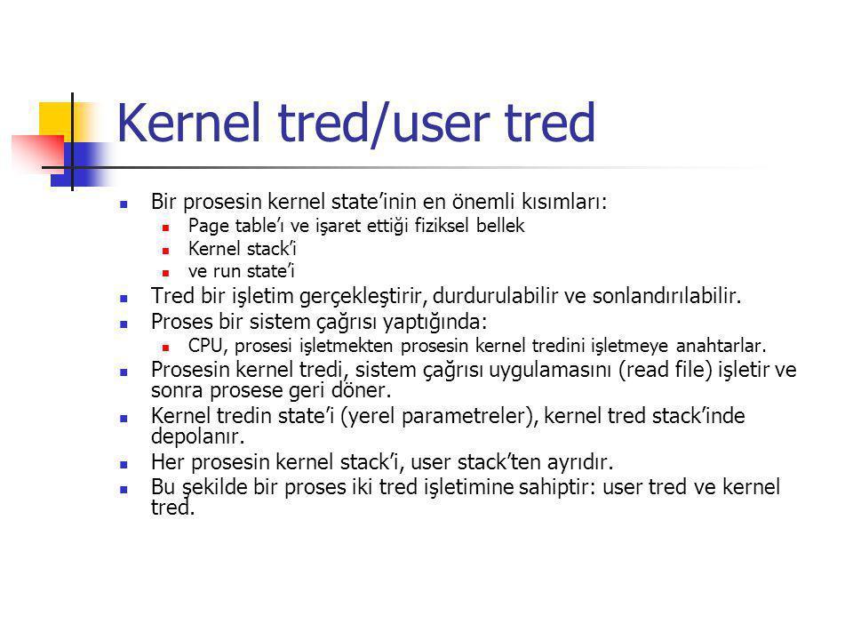 Kernel tred/user tred Bir prosesin kernel state'inin en önemli kısımları: Page table'ı ve işaret ettiği fiziksel bellek Kernel stack'i ve run state'i