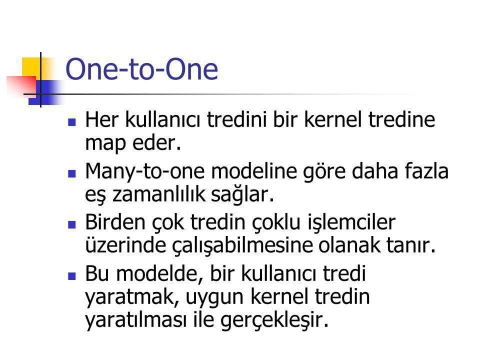 One-to-One Her kullanıcı tredini bir kernel tredine map eder. Many-to-one modeline göre daha fazla eş zamanlılık sağlar. Birden çok tredin çoklu işlem