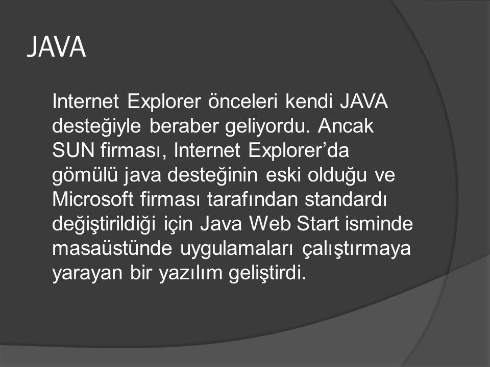 JAVA Internet Explorer önceleri kendi JAVA desteğiyle beraber geliyordu.