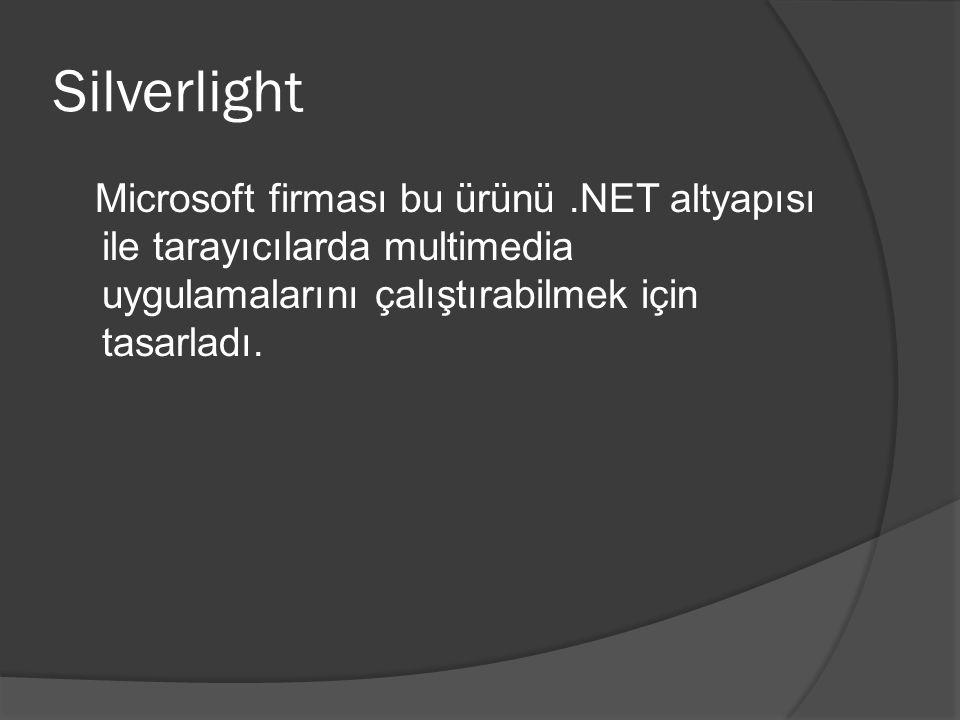 Silverlight Microsoft firması bu ürünü.NET altyapısı ile tarayıcılarda multimedia uygulamalarını çalıştırabilmek için tasarladı.