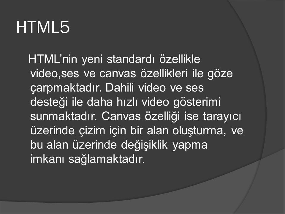 HTML5 HTML'nin yeni standardı özellikle video,ses ve canvas özellikleri ile göze çarpmaktadır.