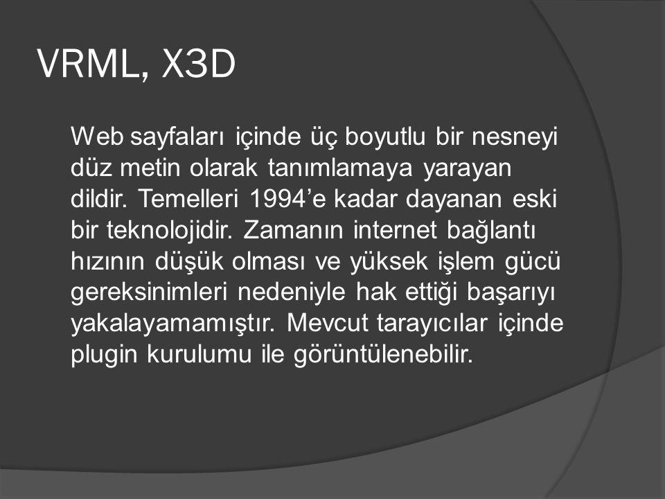 VRML, X3D Web sayfaları içinde üç boyutlu bir nesneyi düz metin olarak tanımlamaya yarayan dildir.