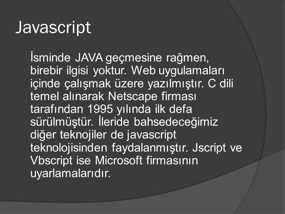 Javascript İsminde JAVA geçmesine rağmen, birebir ilgisi yoktur.