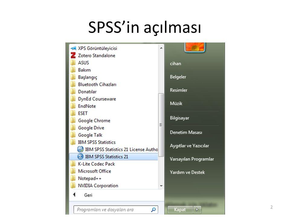 SPSS'in açılması 2