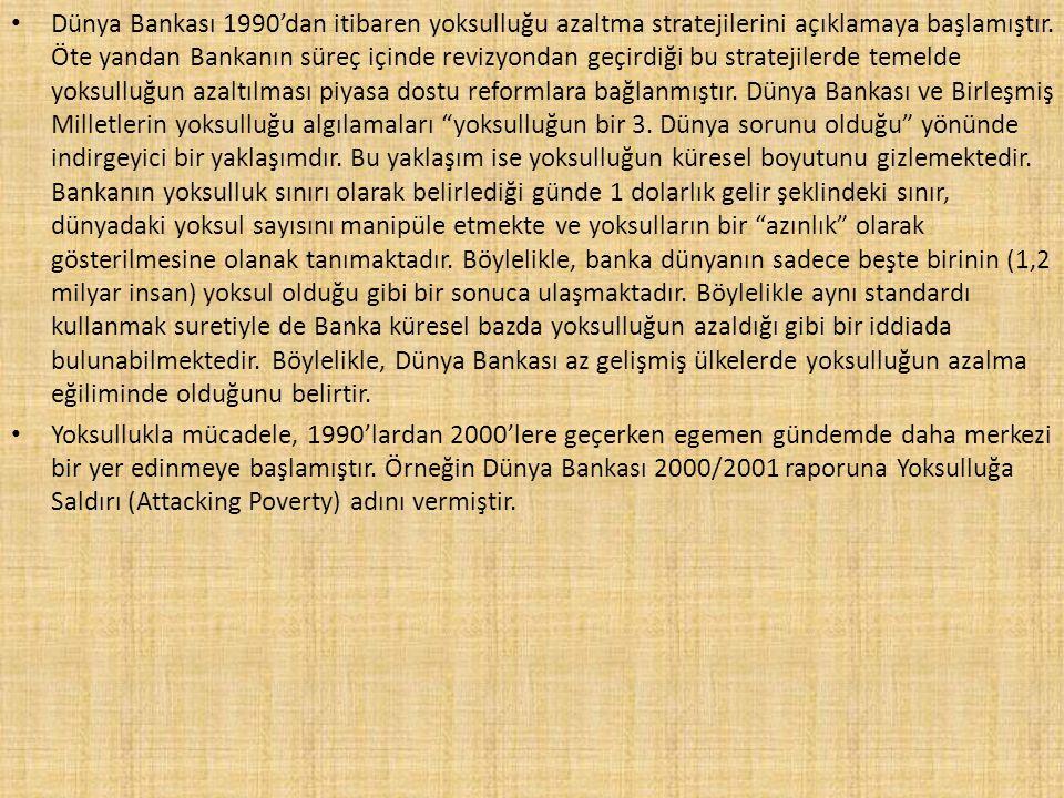 Dünya Bankası 1990'dan itibaren yoksulluğu azaltma stratejilerini açıklamaya başlamıştır. Öte yandan Bankanın süreç içinde revizyondan geçirdiği bu st