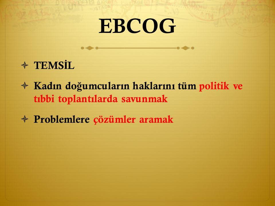 EBCOG  B İ RLE Ş T İ R İ C İ  Üye ülkelerin ulusal derneklerine bilgi vermek destek olmak ve ba ǧ lantı olu ş turmak.