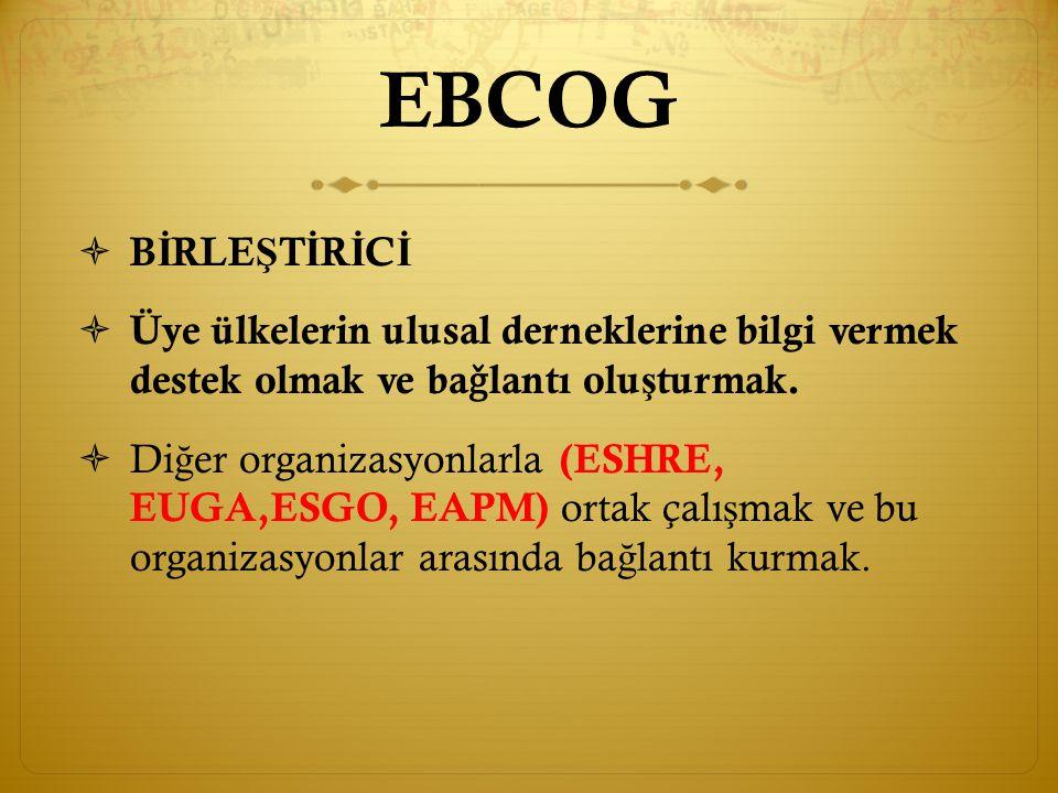 EBCOG önerileri  Asistan eğitimi değerlendirmesi asistan karnesi ile her yıl yapılmalı  1:Kendisinin değerlendirmesi  2: Sorumlu öğretim üyesinin değerlendirmesi  3: Ortak değerlendirme