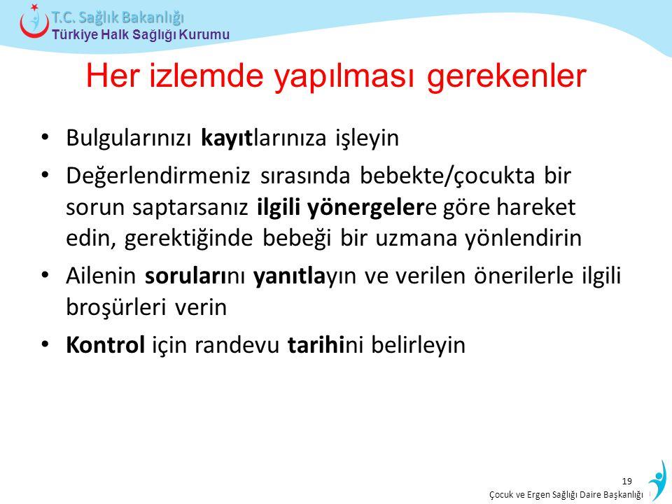 İstatistik ve Bilgi İşlem Daire Başkanlığı Türkiye Halk Sağlığı Kurumu T.C. Sağlık Bakanlığı Çocuk ve Ergen Sağlığı Daire Başkanlığı Her izlemde yapıl
