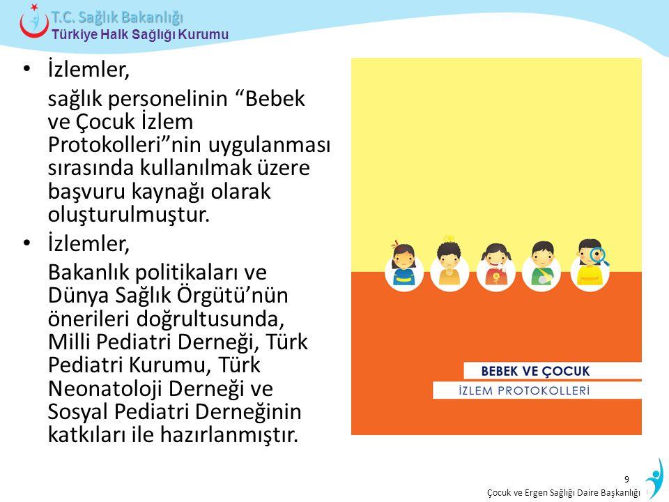 İstatistik ve Bilgi İşlem Daire Başkanlığı Türkiye Halk Sağlığı Kurumu T.C. Sağlık Bakanlığı Çocuk ve Ergen Sağlığı Daire Başkanlığı İzlemler, sağlık
