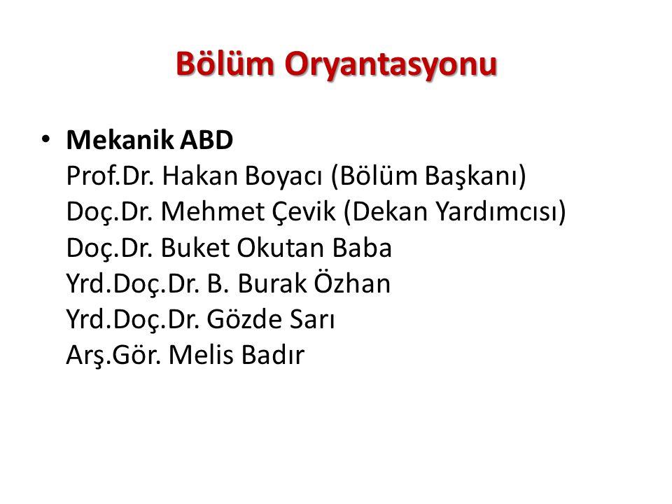 Makine Teorisi ve Dinamiği ABD Prof.Dr.Mehmet Pakdemirli (Rektör) Prof.Dr.