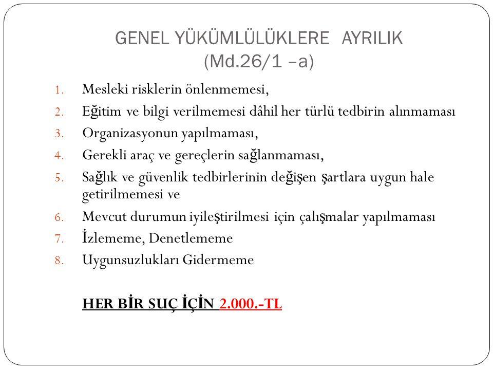 GENEL YÜKÜMLÜLÜKLERE AYRILIK (Md.26/1 –a) 1.Mesleki risklerin önlenmemesi, 2.