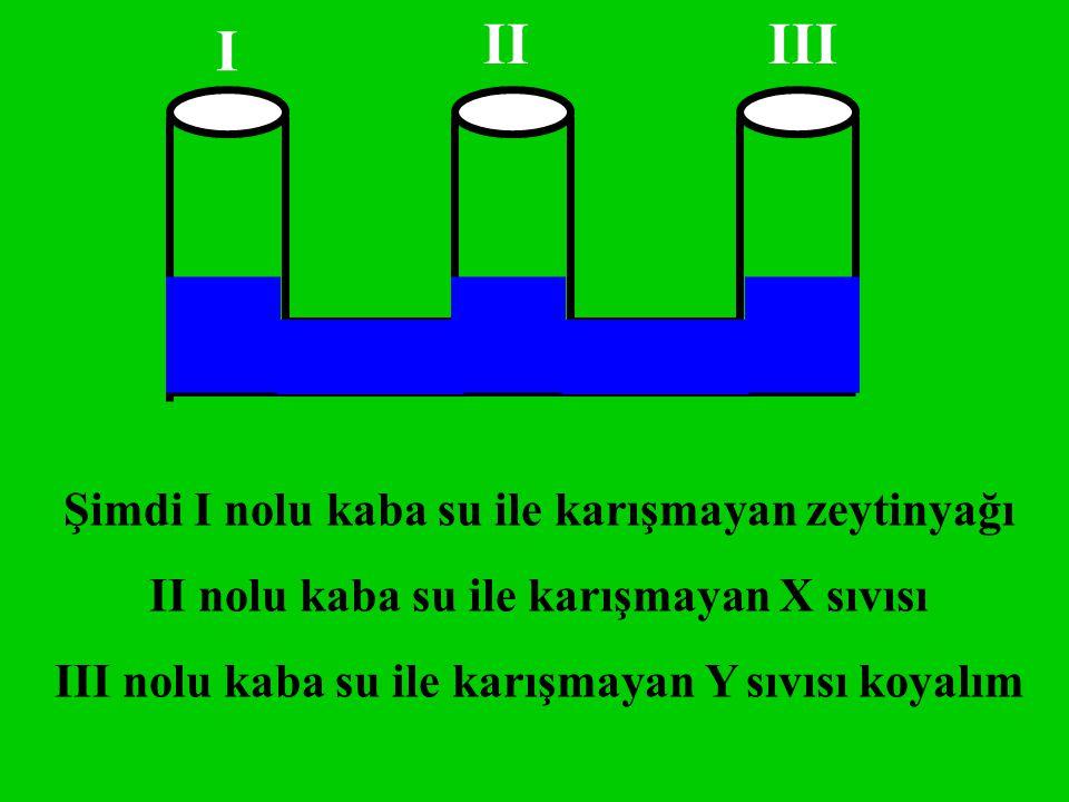 Şimdi I nolu kaba su ile karışmayan zeytinyağı II nolu kaba su ile karışmayan X sıvısı III nolu kaba su ile karışmayan Y sıvısı koyalım I IIIII