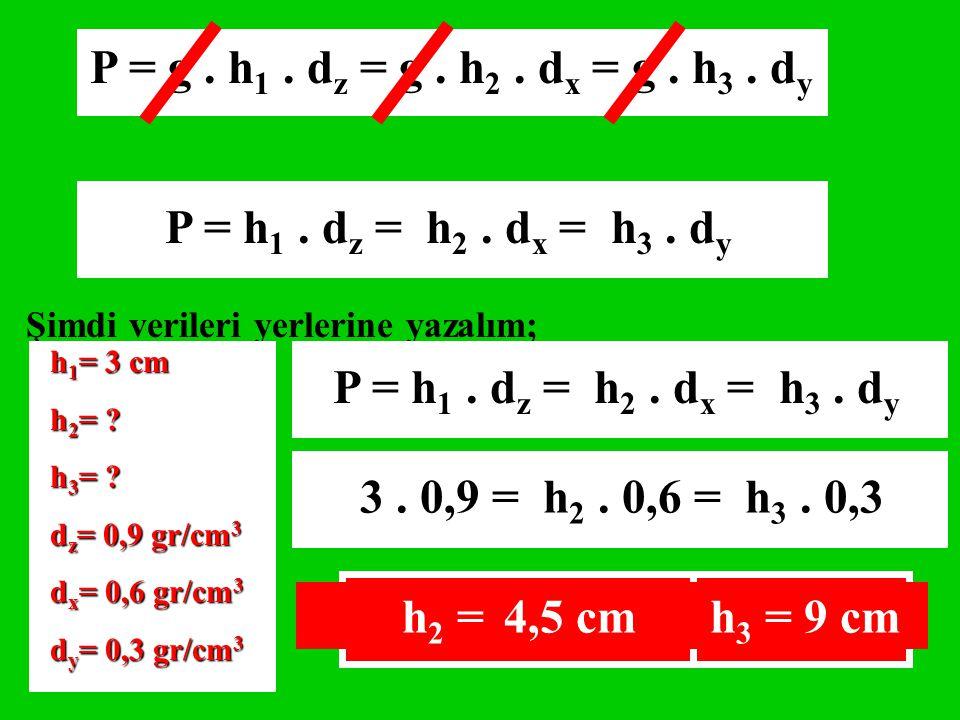 P = h 1. d z = h 2. d x = h 3. d y Şimdi verileri yerlerine yazalım; h 1 = 3 cm h 2 = ? h 3 = ? d z = 0,9 gr/cm 3 d x = 0,6 gr/cm 3 d y = 0,3 gr/cm 3