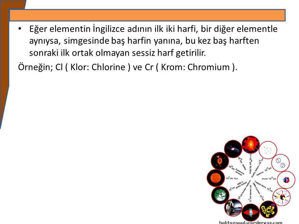 Eğer elementin İngilizce adının ilk iki harfi, bir diğer elementle aynıysa, simgesinde baş harfin yanına, bu kez baş harften sonraki ilk ortak olmayan
