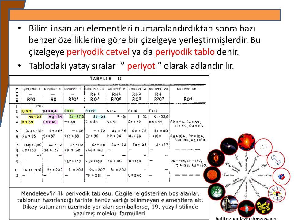 Bilim insanları elementleri numaralandırdıktan sonra bazı benzer özelliklerine göre bir çizelgeye yerleştirmişlerdir. Bu çizelgeye periyodik cetvel ya