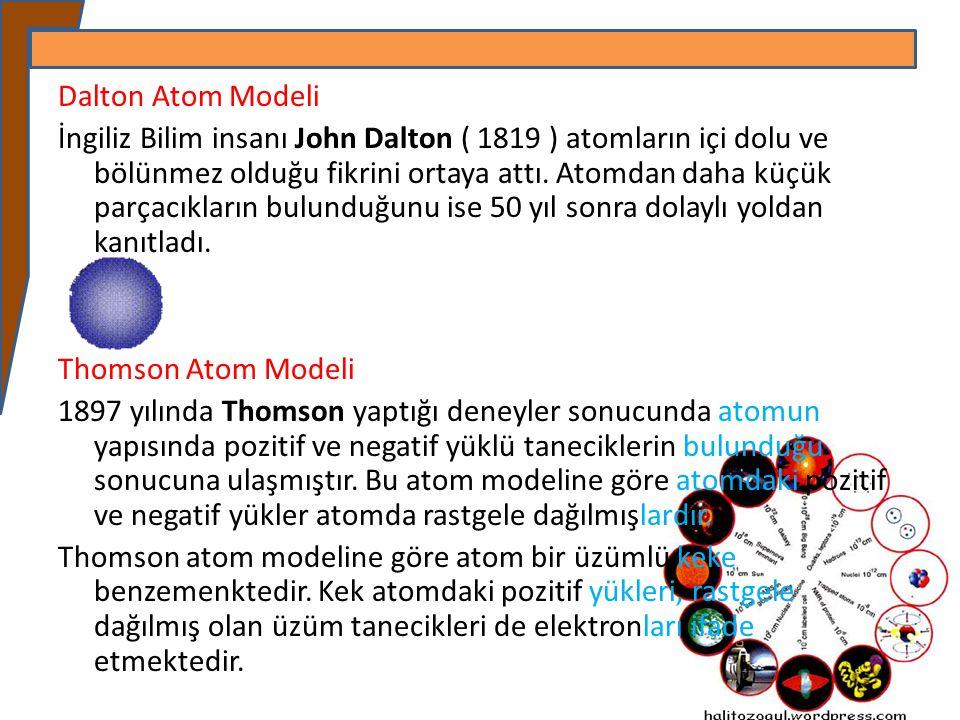 Dalton Atom Modeli İngiliz Bilim insanı John Dalton ( 1819 ) atomların içi dolu ve bölünmez olduğu fikrini ortaya attı. Atomdan daha küçük parçacıklar