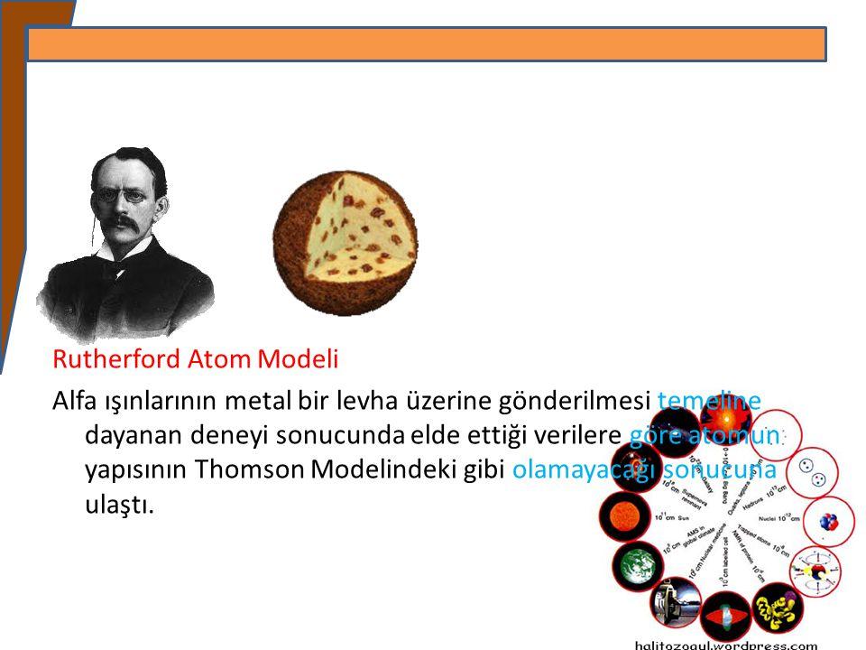 Rutherford Atom Modeli Alfa ışınlarının metal bir levha üzerine gönderilmesi temeline dayanan deneyi sonucunda elde ettiği verilere göre atomun yapısı