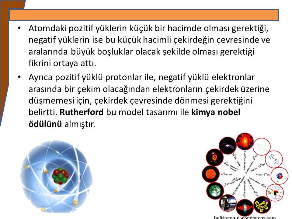 Atomdaki pozitif yüklerin küçük bir hacimde olması gerektiği, negatif yüklerin ise bu küçük hacimli çekirdeğin çevresinde ve aralarında büyük boşlukla
