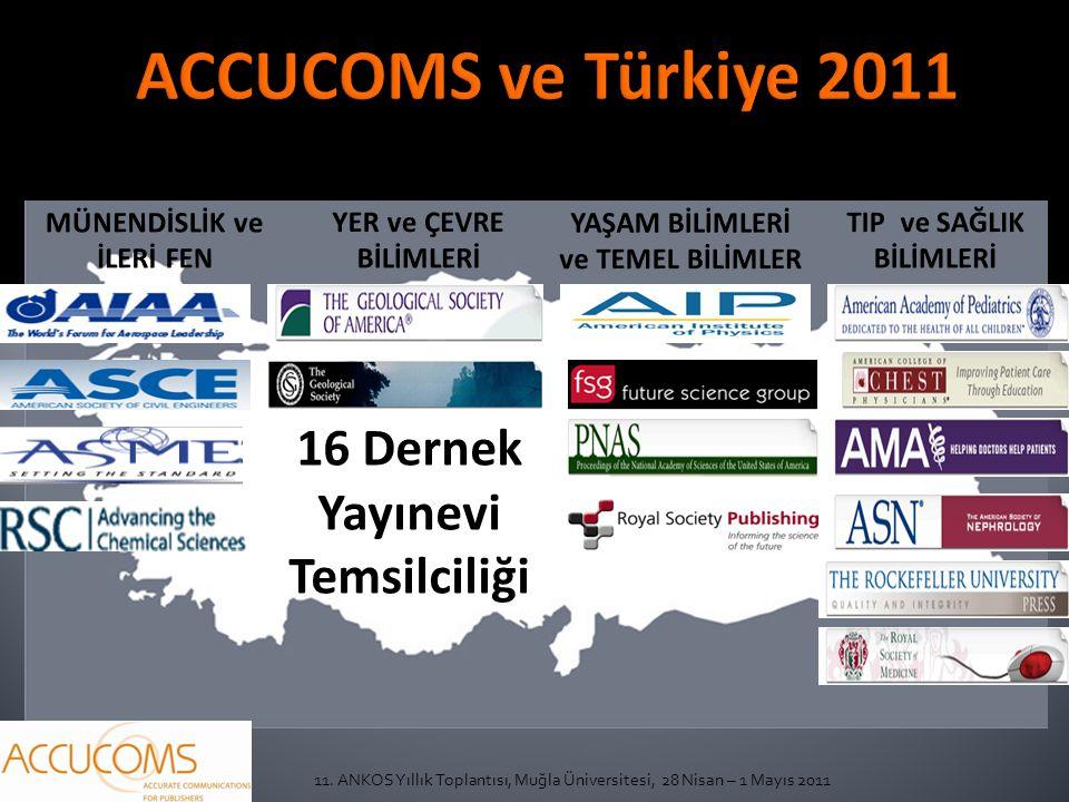 11. ANKOS Yıllık Toplantısı, Muğla Üniversitesi, 28 Nisan – 1 Mayıs 2011 16 Dernek Yayınevi Temsilciliği